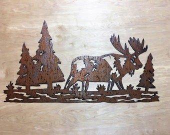 Moose Decoration / Rustic Decor Ideas / Wall Art / Cabin Decor Bathroom / wall hangings / log Cabin / Animal Artwork / Rustic decorative