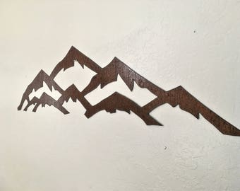 Vail Ski Resort Area Colorado Metal Wall Art Rustic Steel Mountains Skiing Landscape Nature Lover Mountain Range Unique Brown Artwork 3 Ft