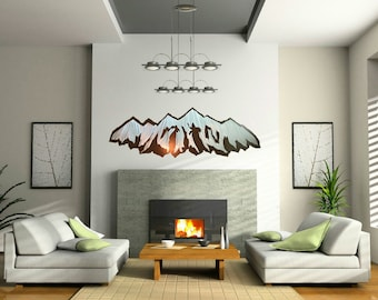Large Metal Art. Panorama. Mountain Ranges. 11th Anniversary. Housewarming Gift. Wanderlust. Rustic Guest Bedroom. Nature Inspired.