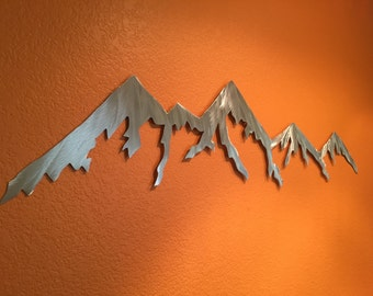 Mountain Wall Art Hand Cut Metal Handmade Home Decor Mountains Aluminum Man Cave Farmhouse Cabin Living Room Den Artwork Holiday Gift Idea