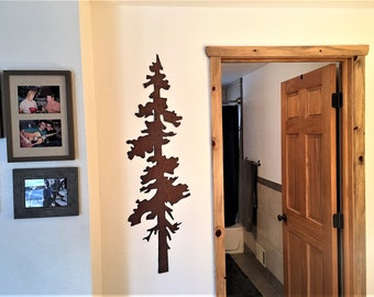 Steel Pine Tree Brown Rustic Metal Wall Art Handmade Home Decor Trees Outdoors Nature Lover Artwork Anniversary Retirement Birthday Gift Him