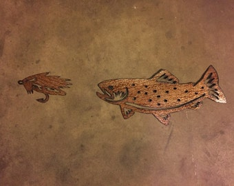Brown Trout and Fly Fishing Fly.  Handmade metal wall art