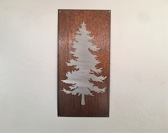 Evergreen Tree Artwork. Metal Wall Art. Colorado artist. Rustic wall hangings. Touch of modern. Framed evergreen tree. Gift for her.