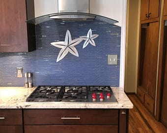 Tropical Nautical Metal Wall Art Under Sea Starfish Coastal Ocean Beach Decor Scuba Diving Snorkeling Kitchen Bathroom Office Den Artwork