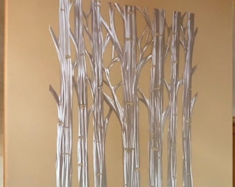 "Aspen tree metal wall art for above your fire place or kitchen wall. Silver aluminum artwork 58"" tall 46"" wide"