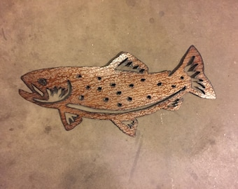 Metal wall art of a brown trout, Fly fishing river trout made of steel. Handmade, hand cut fish