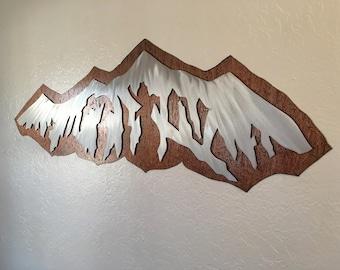 Modern mountains. Ski town artwork, Cabin decor, Fireplace artwork. 3ft