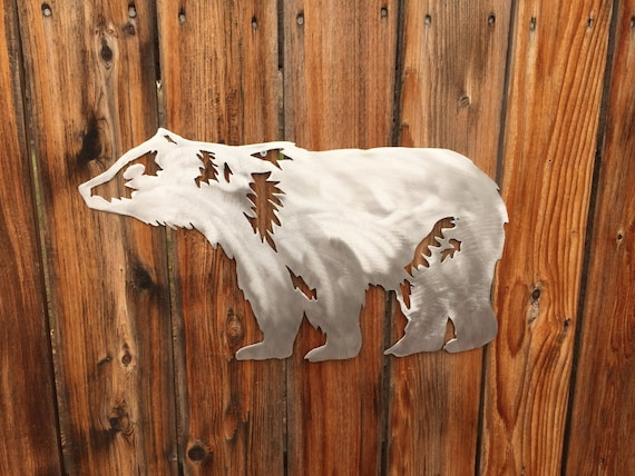 Bear Wildlife Forest Animal Metal Wall Art Handmade Aluminum Steel Unique Gift Item Home Decor Artwork Den Patio Garden Patio Lodge Cabin