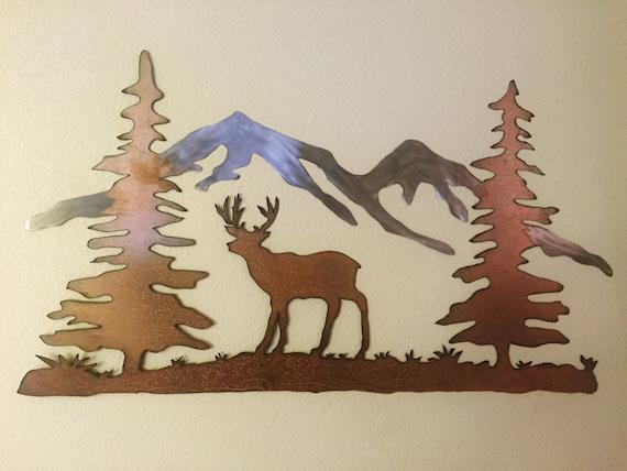 Deer and mountains metal wall art, Metal mall art, Hand made wall art, Mountains, Deer
