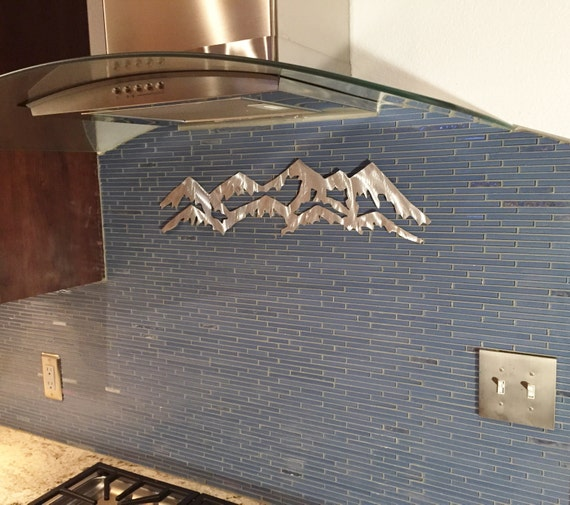 Handmade Metal Mountains. Colorado front range with longs Peak on top. Backsplash decoration