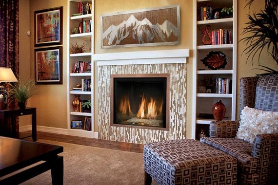Fireplace Decor. Rustic Mountain Art. Wilderness. Housewarming Gift. Happy Camper. Wanderlust. Nature Inspired. Interior Metal Art.