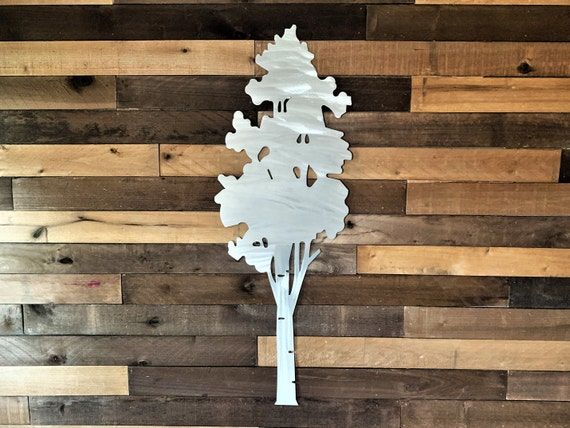 Aspen tree metal wall art in silver aluminum 3ft