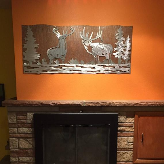 Elk artwork. Metal wall art, Nature scene, Wildlife, Forest, Bear mountain metal art, Log cabin decor, Hunting, Mountain man, Rustic modern