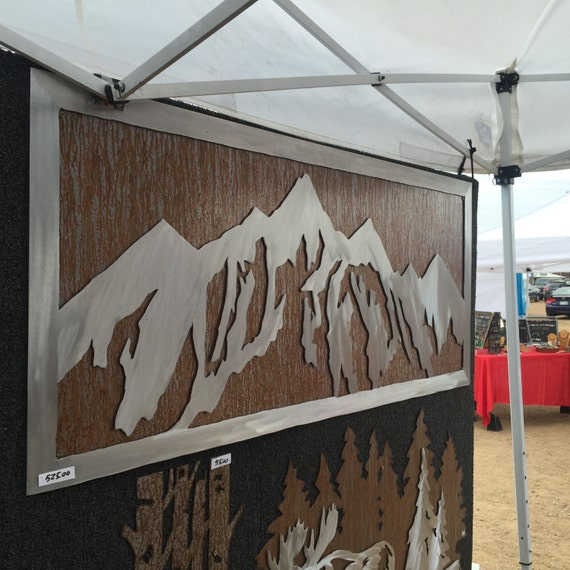 Mountain Decor. Metal Wall Art. Mountain wall mural. Western artwork. Metal wall decor. Snow capped mountain scene. Home decoration. CO.