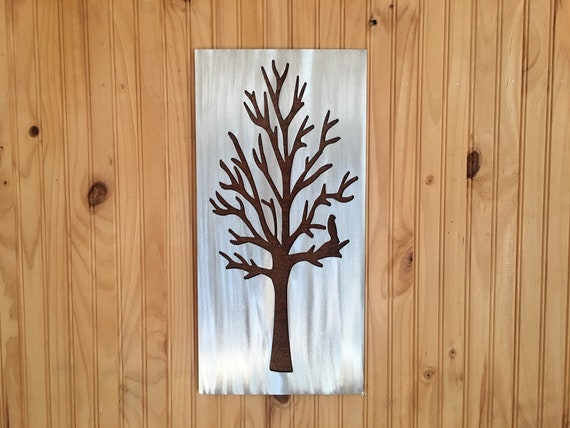 Silver Tree Artwork. Metal Wall Art. Colorado home. Winter trees. Rustic wall hangings. Touch of modern. Bird in tree. Cabin decor.