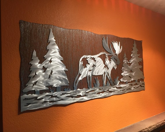 Moose Artwork. Rustic cabin decor. Animal wall art. Log home decor