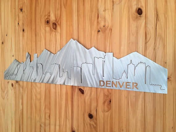 Denver Colorado Skyline Metal Wall Art Foothills City Life Rocky Mountain Range Buildings Mt. Elbert Mile High Artwork Home Decor Den Office