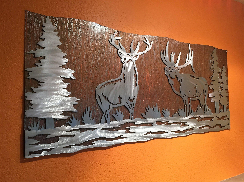 Elk Artwork. Metal Wall Art, Nature Scene, Wildlife