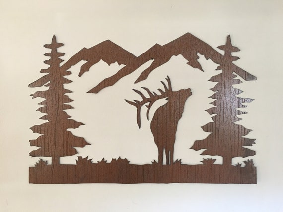 Elk metal wall art. Rustic animal artwork. Mountains Trees Forest. Hunting lodge decor