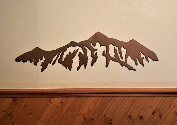 Mountain artwork. Breckenridge Ski Resort in Rustic Steel 3 Ft. Skiing Decor
