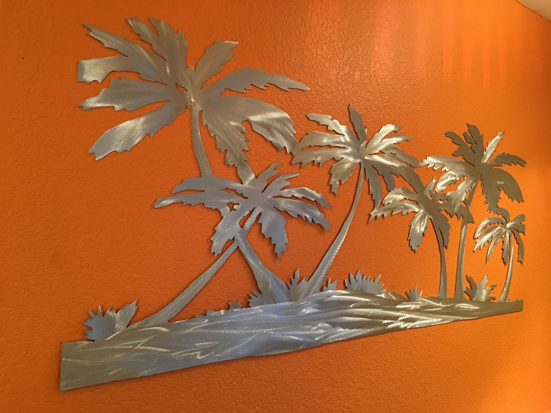 Metal Tree Wall Art Gallery: Palm Trees On Beach Metal Wall Artwork Hand Cut Unique