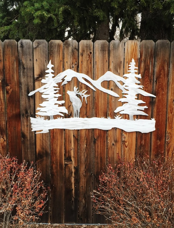 Elk Outdoors Mountains Trees Metal Wall Art Forest Colorado Handmade Aluminum Artwork Unique Wall Decor Hunting Cabin Lodge Kitchen Bedroom