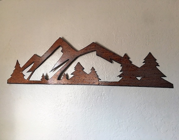 Mountains Colorado Rocky Mountain National Park 3 Ft Metal Wall Art Estes Park CO Hand Cut Handmade Mountains Trees Evergreens Fun Gift Idea