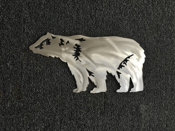 Bear Wall Art Rustic Home Decor Nursery Artwork Bear Mountain Metal Art CO Artist Patio Outside Outdoorsman Home Decoration Silver Aluminum