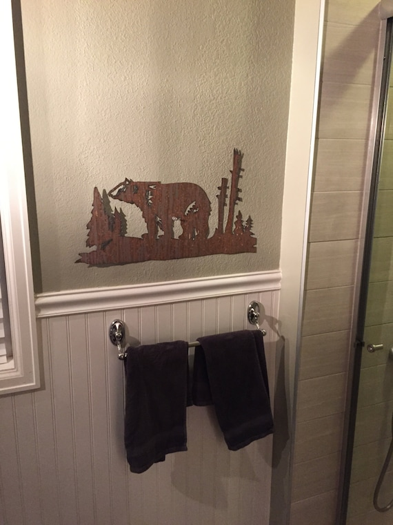 Bear mountain metal art. Brown bear in rustic steel