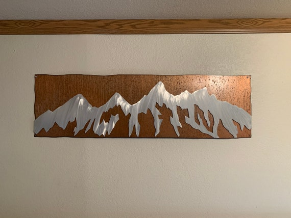 Wyoming Mountain Art. Rustic Metal Wall Art. Grand Tetons National Park. Log Cabin Decor. House Warming Gift