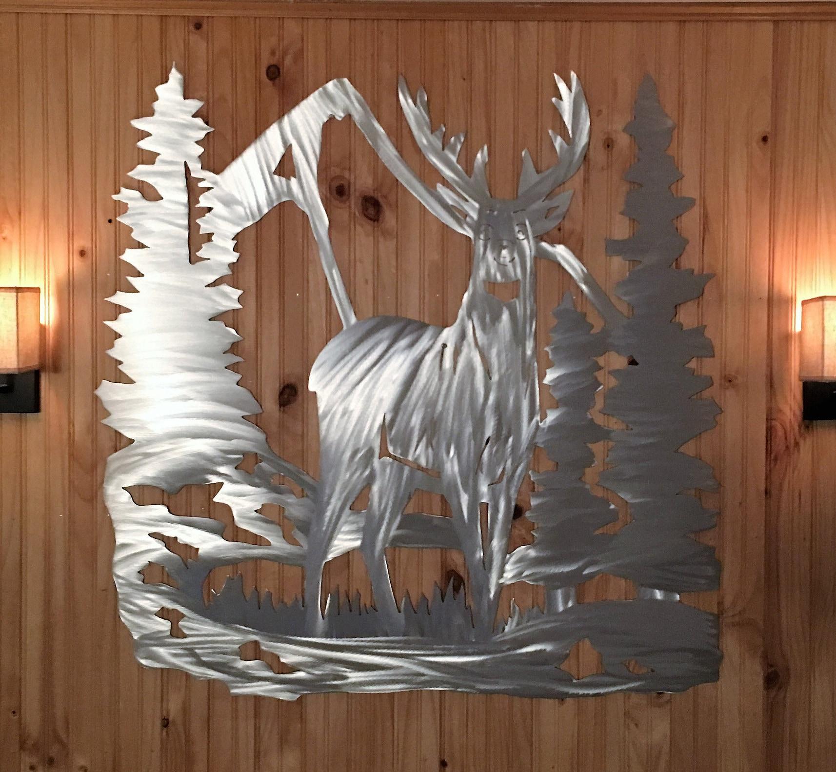 Modern Home Decor. Deer. Nature Inspired. Metal Wall Hanging ...