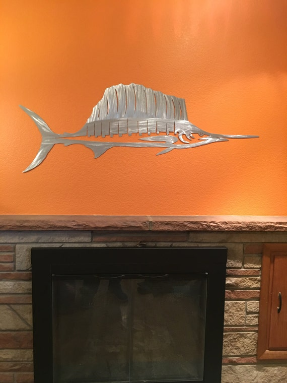 Sailfish Fishing Art Nautical Metal Wall Artwork Home Decor Oceania Gift For Him Man Cave Lake House Nautical Mantel Hanging New Home Gift