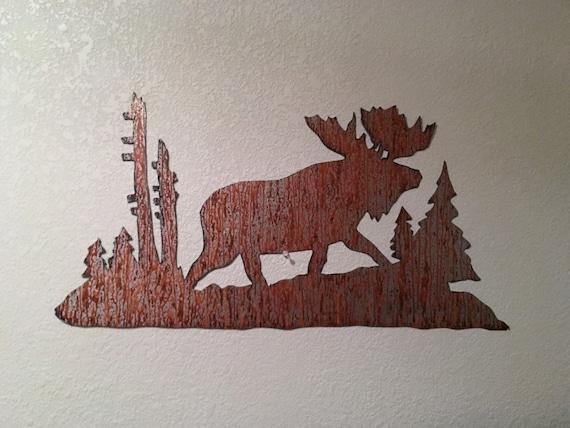 Moose wall art. Rustic decor. Log cabin decoration