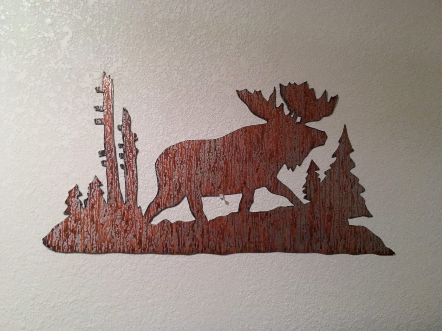 Moose Decoration, Rustic Metal Wall Art. Moose Artwork, Mountain Home Decor,  Brown Color, Nature Inspired, Moose Nursery Decor, Rustic Decor