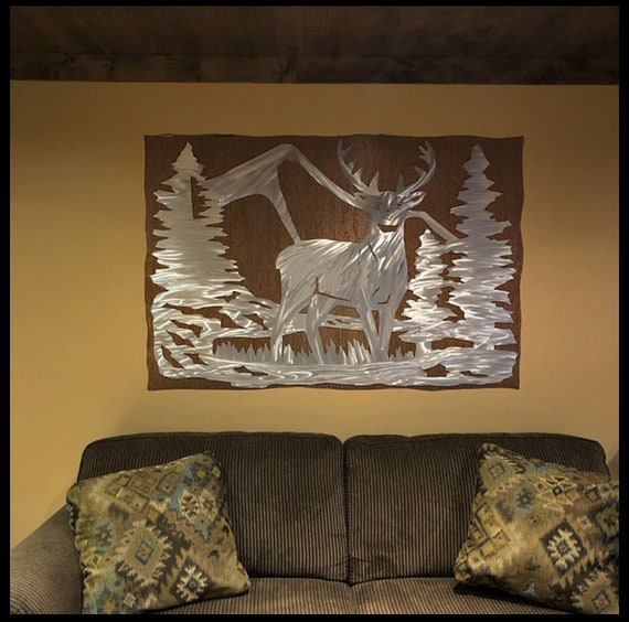 Rustic Home Decor Deer Nature Inspired Metal Wall Hanging Etsy