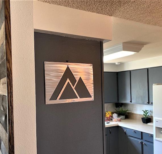 Modern Mountain Artwork. Aluminum Metal Wall Art for Kitchen. Ski Resort Art