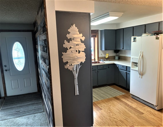 Large aspen tree artwork. kitchen decoration. Forest decor