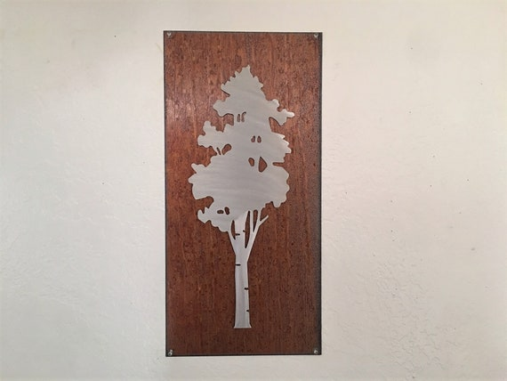 Aspen Tree Artwork. Metal Wall Art. Colorado artist. Rustic wall hangings. Touch of modern. Framed aspen tree. Gift for her. Anniversary