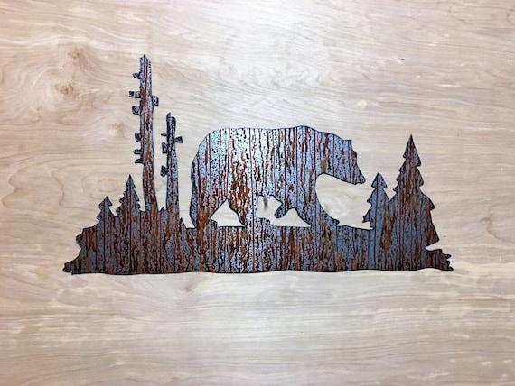 Brown bear metal wall art for Man Cave
