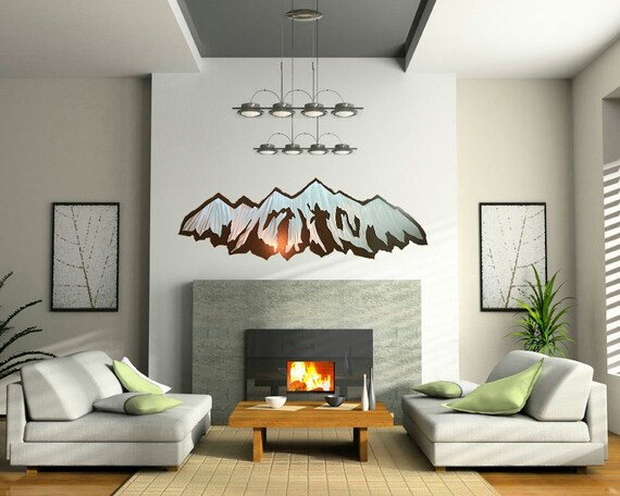 Large Metal Art. Panorama. Mountain Ranges. 11th Anniversary. Housewarming Gift. Wanderlust. Rustic Guest Bedroom. Nature Inspired.