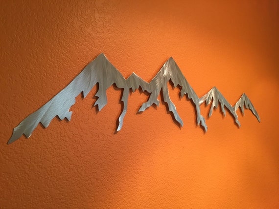 Mountain Wall Art Hand Cut Metal Handmade Home Decor Mountains Aluminum Man Cave Farmhouse Cabin Living Room Holiday Gift Idea(2ft i-70 TOP)