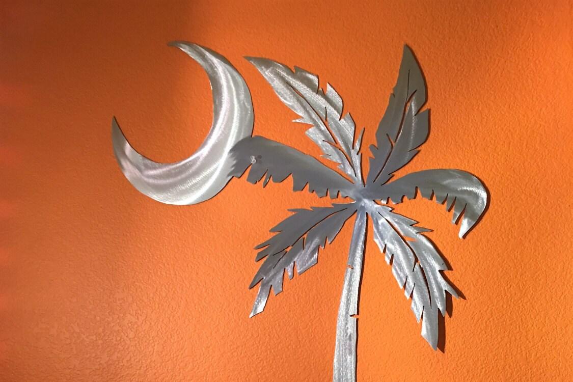 Metal Tree Wall Art Gallery: Moon Palm Tree Large Metal Wall Art Beach Ocean Artwork