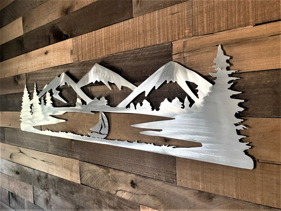 Mountain and sailboat wall art. Lake Dillon Colorado. Metallic artwork.