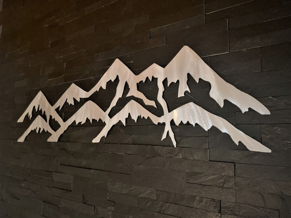 Colorado Front Range Mountains Metal Wall Art Decor Wilderness Rocky Peaks Silver Artwork Hiking Nature Lover Home Gift Idea Handmade 3 Ft.