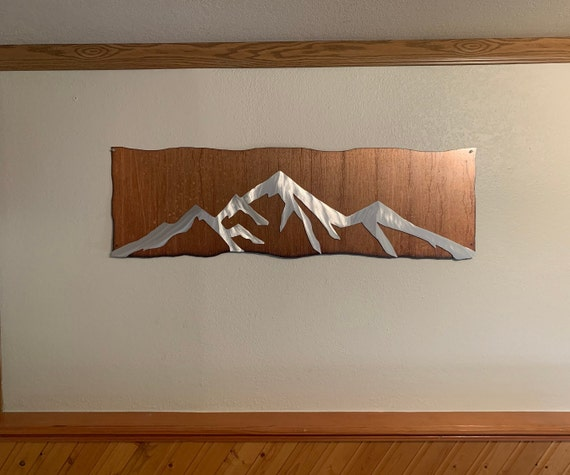 CUSTOM Lake Dillon in silver aluminum on a rustic brown steel background  Size 48x15