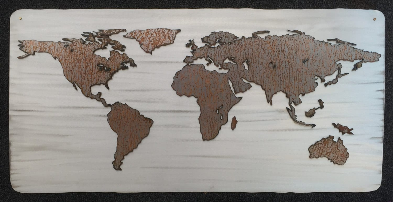 Large World Map Rustic Home Decor New Home Gifts For