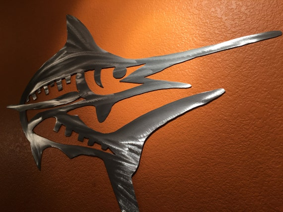 Marlin Fish Metal Wall Art Tropical Ocean Marine Beach Water Vacation Home Bathroom Bedroom Hallway Kitchen Man Cave Garage Door Patio Decor