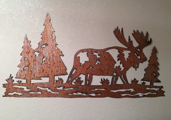 Moose artwork in rustic steel. Nature lover gift