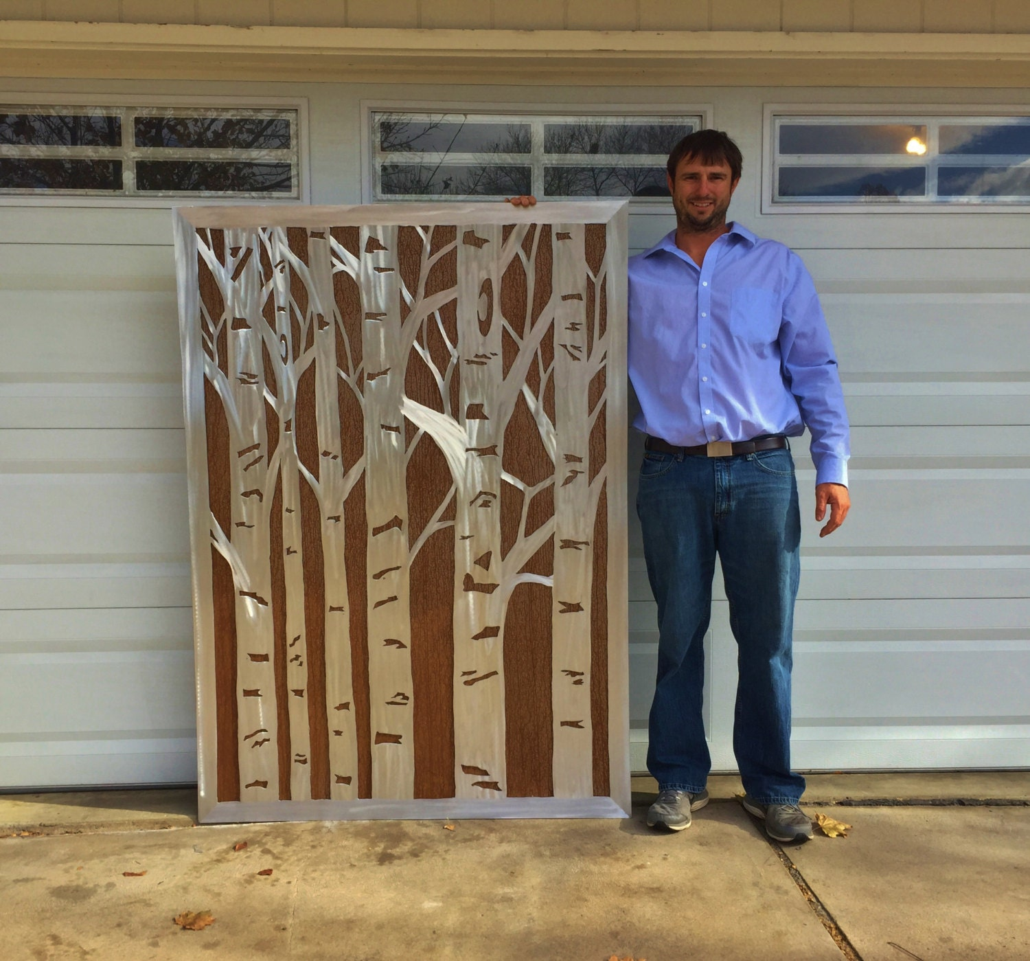 Large metal wall art aspen trees rustic home decor nature inspired front porch decor modern farmhouse nature lovers gift wall hanging