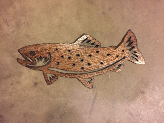 Metal Wall Art Brown River Trout Fly Fishing Fisherman Artwork Handmade Hand Cut Steel Fish Cabin Lodge Decor River Stream Lake Wildlife Fun